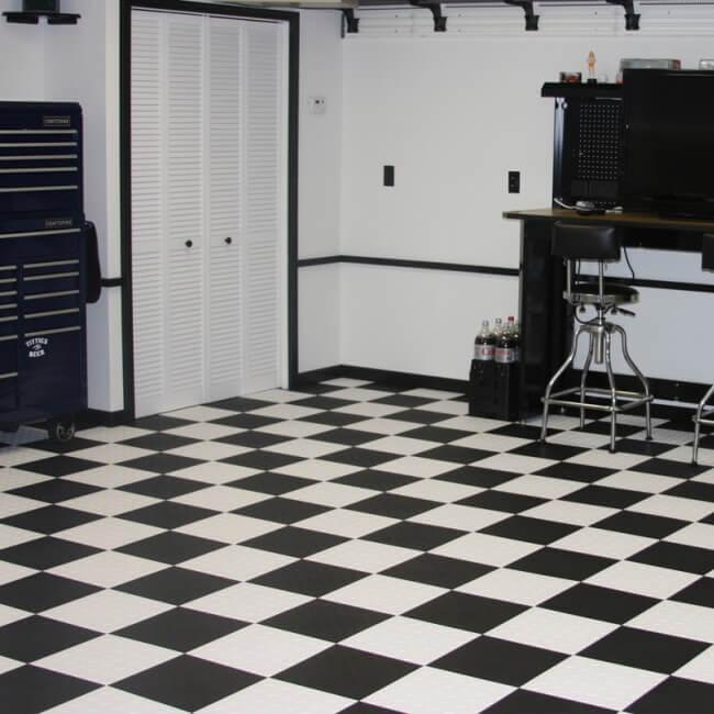 Diamond Garage Floor Tiles Checkered