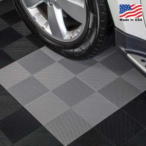 Drain Interlocking Garage Floor Tiles Gray